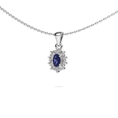 Picture of Necklace Leesa 585 white gold sapphire 6x4 mm