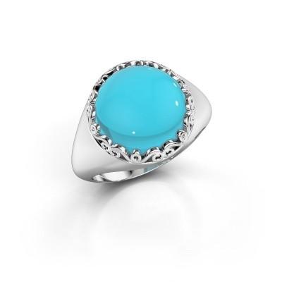 Foto van Ring Birgit 950 platina blauw topaas 12 mm