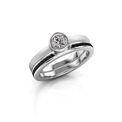 Bild von Ring Cara 585 Weißgold Schwarz Diamant 0.670 crt