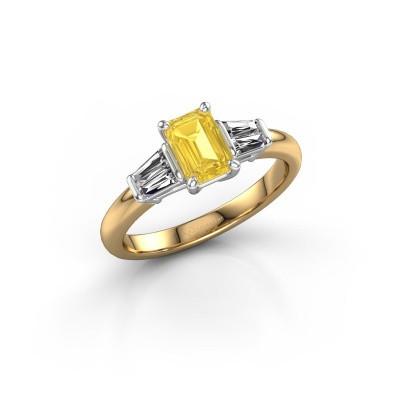Foto van Verlovingsring Kina EME 585 goud gele saffier 6.5x4.5 mm
