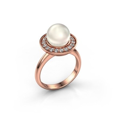 Foto van Ring Sarah 375 rosé goud witte parel 9 mm