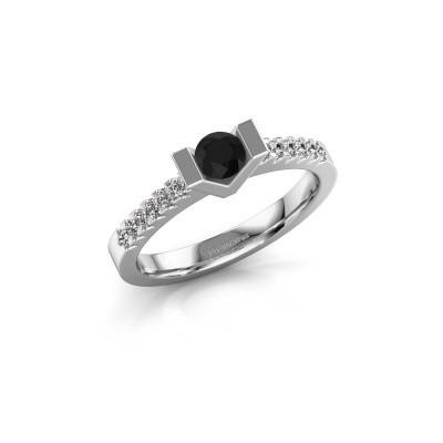 Verlovingsring Sherley 2 585 witgoud zwarte diamant 0.48 crt