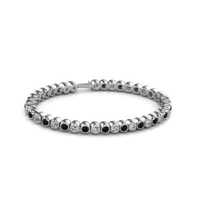 Foto van Tennisarmband Bianca 3.5 mm 585 witgoud zwarte diamant 7.92 crt