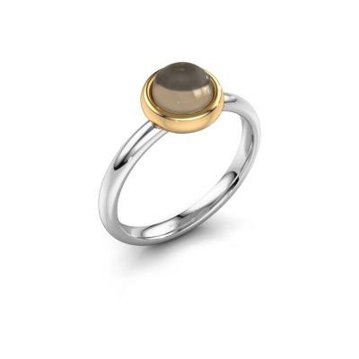 Ring Blossom 585 witgoud rookkwarts 6 mm