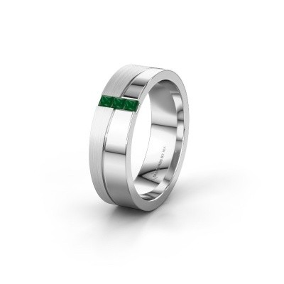 Wedding ring WH0906L16A 950 platinum emerald ±6x1.7 mm