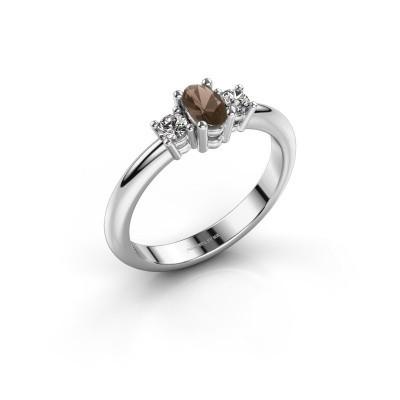 Engagement ring Karie 950 platinum smokey quartz 5x3 mm