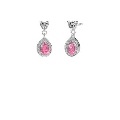 Drop earrings Susannah 585 white gold pink sapphire 6x4 mm