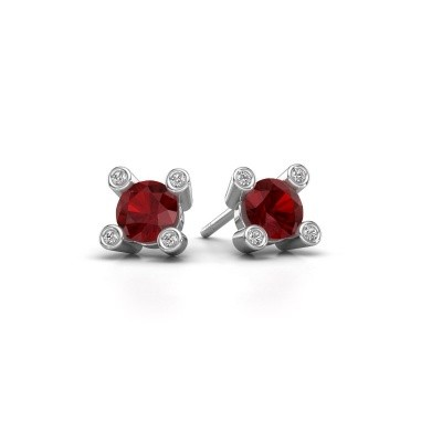 Picture of Stud earrings Cornelia Round 375 white gold ruby 6 mm