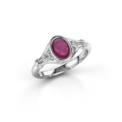 Ring Scarlett 585 witgoud rhodoliet 7x5 mm