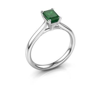 Verlovingsring Mignon eme 1 950 platina smaragd 6.5x4.5 mm