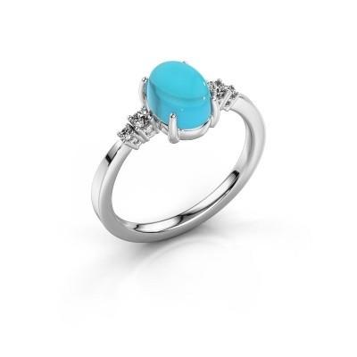 Ring Jelke 950 platina blauw topaas 8x6 mm