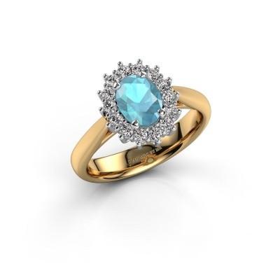 Foto van Verlovingsring Margien 1 585 goud blauw topaas 7x5 mm