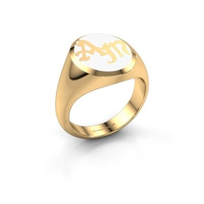 Monogram ring Brad Emaille 585 goud