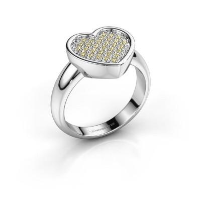 Ring Veerle 585 witgoud gele saffier 1 mm