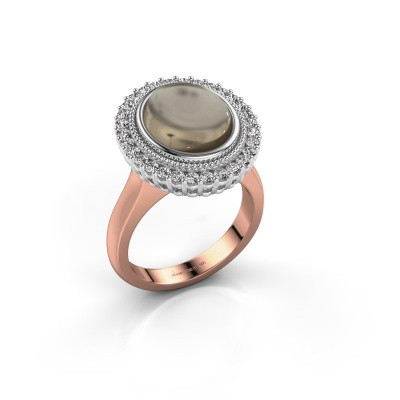 Ring Mila 585 rosé goud rookkwarts 12x10 mm