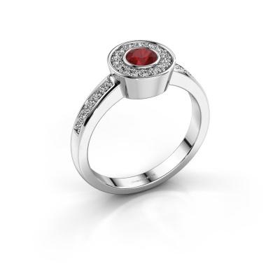 Ring Adriana 2 585 witgoud robijn 4 mm