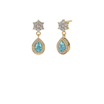 Drop earrings Era 375 gold blue topaz 6x4 mm