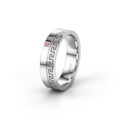 Huwelijksring WH0252L24X 585 witgoud roze saffier ±4x1.5 mm