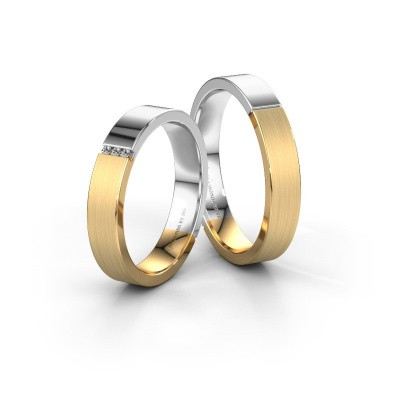 Picture of Wedding rings set WH1100LM14AMP ±0.16x0.07 in 14 Carat gold diamond 0.008 crt