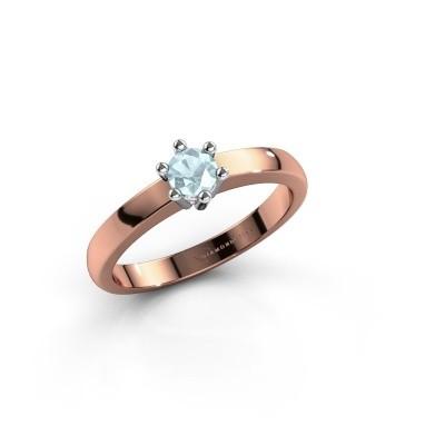Verlovingsring Luna 1 585 rosé goud aquamarijn 3.7 mm