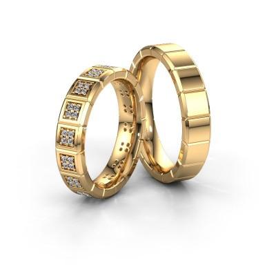 Foto van Huwelijksringen set WH2056LM15DP ±5x2.4 mm 14 karaat goud diamant 0.007 crt