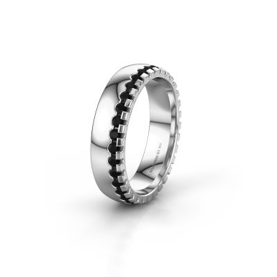 Wedding ring WH6122L25B 950 platinum black diamond ±5x2 mm