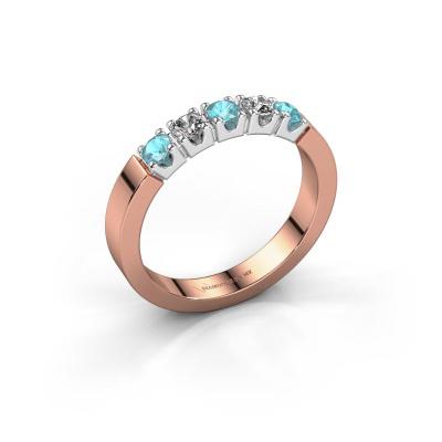 Engagement ring Dana 5 585 rose gold blue topaz 3 mm
