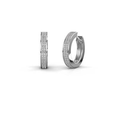 Creolen Renee 5 12 mm 585 witgoud diamant 0.78 crt