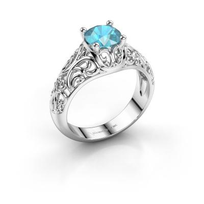Ring Mirte 950 platina blauw topaas 6.5 mm