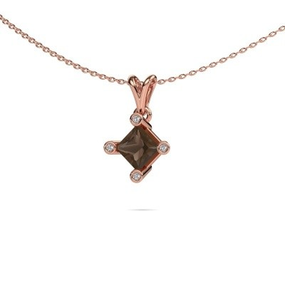 Picture of Pendant Cornelia Square 375 rose gold smokey quartz 6 mm