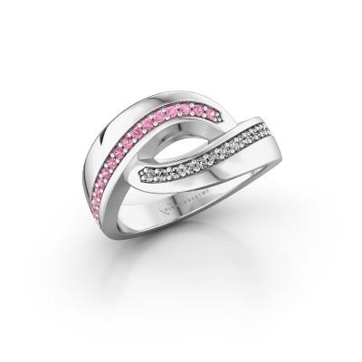 Ring Sharita 925 zilver roze saffier 1.2 mm