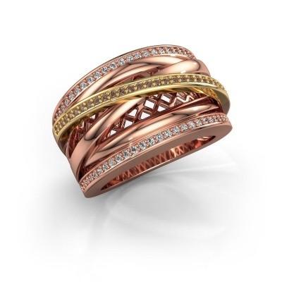 Foto van Ring Tabita 585 rosé goud bruine diamant 0.405 crt