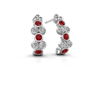 Earrings Kayleigh 950 platinum ruby 2.4 mm