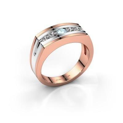 Foto van Heren ring Huub 585 rosé goud aquamarijn 3.7 mm