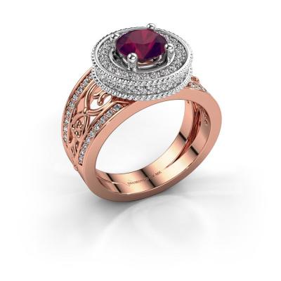Ring Joy 585 rosé goud rhodoliet 6.5 mm