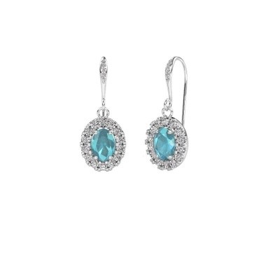 Picture of Drop earrings Jorinda 2 375 white gold blue topaz 7x5 mm