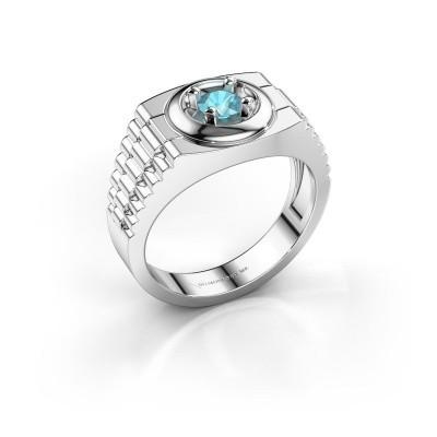 Foto van Rolex stijl ring Edward 925 zilver blauw topaas 4.7 mm