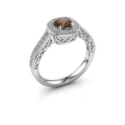 Engagement ring Candi 585 white gold smokey quartz 5 mm