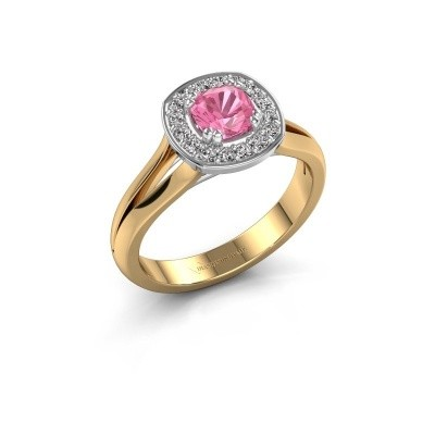 Foto van Ring Carolina 1 585 goud roze saffier 5 mm