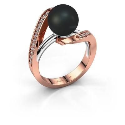 Foto van Ring Amber 585 rosé goud zwarte parel 9 mm
