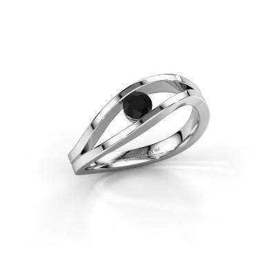 Foto van Aanzoeksring Sigrid 1 585 witgoud zwarte diamant 0.24 crt
