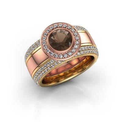 Foto van Ring Roxie 585 rosé goud rookkwarts 6.5 mm
