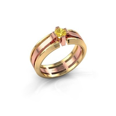 Picture of Men's ring Sem 585 rose gold yellow sapphire 4.7 mm