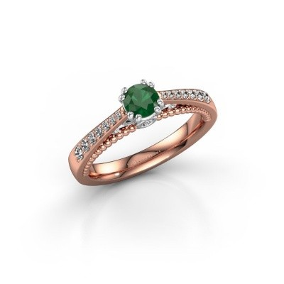 Verlovingsring Rozella 585 rosé goud smaragd 4.2 mm