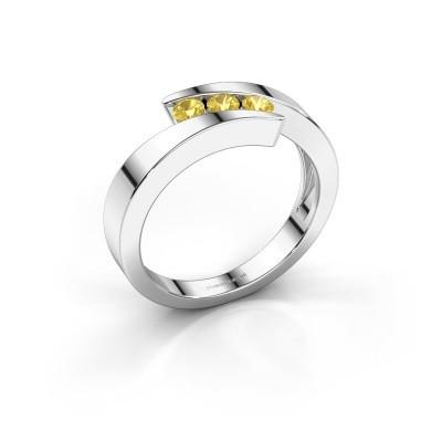Foto van Ring Gracia 950 platina gele saffier 2.7 mm