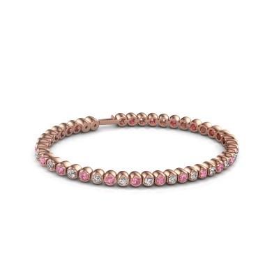 Foto van Tennisarmband Asley 375 rosé goud roze saffier 3 mm