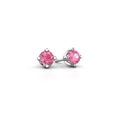 Foto van Oorknopjes Briana 585 witgoud roze saffier 3.7 mm