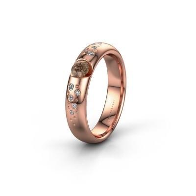 Trouwring WH2104L34A 375 rosé goud bruine diamant ±4x1.7 mm