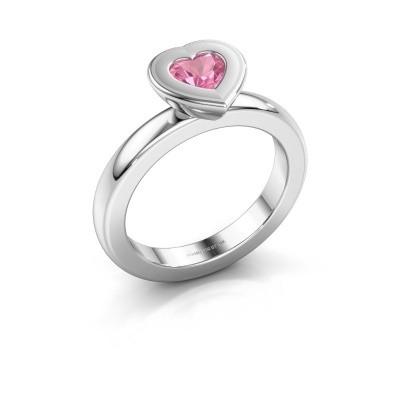 Stapelring Eloise Heart 585 witgoud roze saffier 5 mm