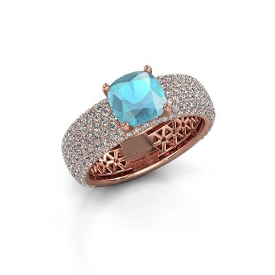 Engagement ring Darcy 375 rose gold blue topaz 7 mm